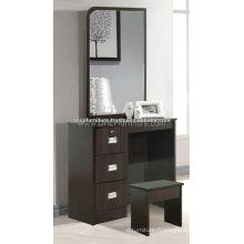 Table de dressage en bois avec tabouret et miroir