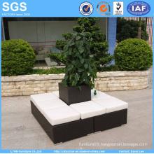 Garden Outdoor Furniture PE Rattan Wicker Set with Flower Pot