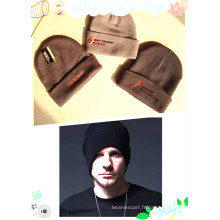 Cheap Black Custom Beanie Winter Crochet 100% Acrylic Caps Chapeaux tricotés