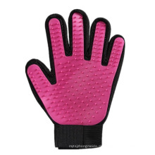 Deshedding-Bürsten-Werkzeug-Haustier-Haar-Entferner-Handschuh, roter Haustier-Pflege-Handschuh für Pferdekatzen-Hund