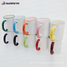 Sunmeta factory supply 11oz rim and handle color blank sublimation mug, sublimation coated mug