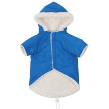 Pet blue plus fleece hooded soft warm double pocket cotton vest
