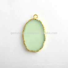 Wholesale Best Quality Green Chalcedony Slice Gemstone Bezel Station Micron Gold Plated Sterling Silver Bezel Charms Suppliers