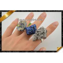 Оптовые кольца металла вымощают агат Druzy камень, ювелирные изделия кец, кольца способа Gemstone (FR010)