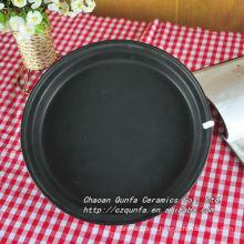 Esmalte de color, superficie mate de cerámica, plato negro, plato pequeño QFF13-004