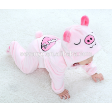 Мягкие детские Фланелевые ползунки животное свинья onesie пижамы костюм костюмы,спальные износа,милый розовый ткань,ребенок с капюшоном полотенце