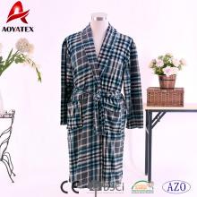 100% polyester men printed coral fleece bathrobe