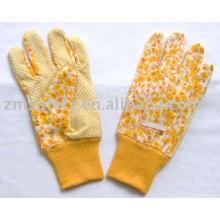 Yellow pvc dots Garden glove