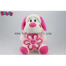 Lovely Cuddly Sitting Plüsch Welpen Tier Spielzeug mit rosa Blumenkissen Bos1164