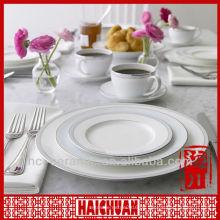 4er Feinkost-Porzellan-Dinner-Set, weißes Porzellan-Geschirr