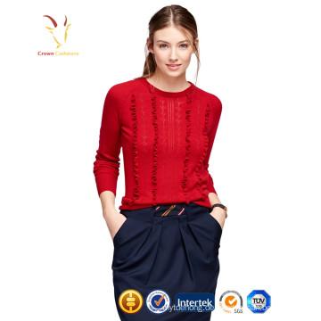 Ladies Red Fashion Pullover 100% Kaschmirpullover