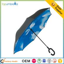 Nouveaux produits innovants imperméable à l'intérieur à l'extérieur libre c poignée parapluie inversé