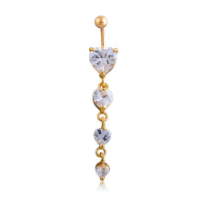 Exaggerated alternative Stainless Steel Four love heart-shaped zircon gold-plated Belly Ring
