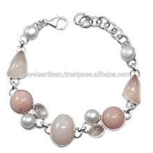 Rosa Opal E Rose Quartz Com Pérola Gemstone 925 Solid Silver Bracelet