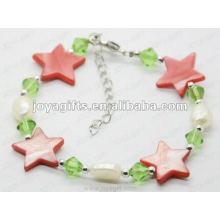 Moda Joya 2012 Estrella Roja perla Shell rebordeada Anklet