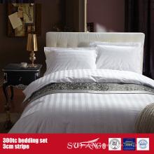 300TC 3cm Stripe en gros ensemble de literie Hôtel Bed Sheet Set