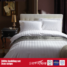 300TC 3cm Stripe Wholesale Bedding Set Hotel Bed Sheet Set