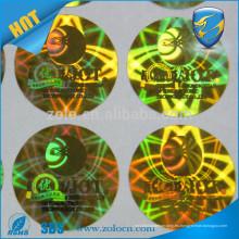 Protección de la marca Hologramas coloridos Transferencia total vacío / alto residuo etiqueta de vacío de seguridad