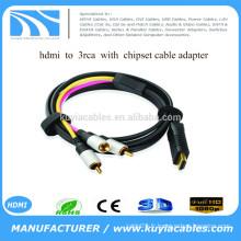 Nouveau HDMI HDMI 3RCA haute qualité avec chipset + alimentation usb Adaptateur secteur pour PC HDTV disponible en 1M 1.5M 1.8M