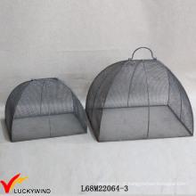 Set 2 artesanais cinza Grey Metal Wire Mesh coberturas de alimentos