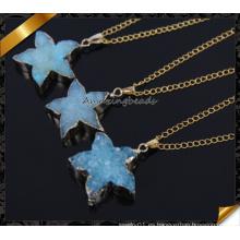 Forme a venta al por mayor el collar azul de piedra natural de Druzy de la piedra para el regalo de la muchacha (CN015)