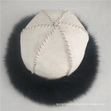 new design unisex winter warm sheepskin fur hat with fox fur trim