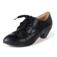Schwarze klassische Leder Damenschuhe mit Chuncky Heels und Spitze