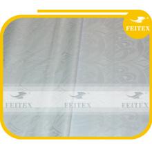 Tissu blanc en dentelle broderie brocade feitex Meilleure qualité tissu nigérian feitex Bazin