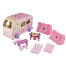 Pink Funny Kids Wooden Camping BBQ Miniature Furniture for Model