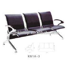 Airport chair with three seat, Aluminum armrest and legs, Pu leather seater design (KS1A-3)