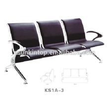 Cadeira de aeroporto com três assentos, apoios de braços e pernas de alumínio, design de assento em couro Pu (KS1A-3)