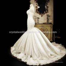 Real Photos New Luxury Bead 2017 Sweetheart Sweetheart Satin Mermaid Wedding Bridal Dresses MW969