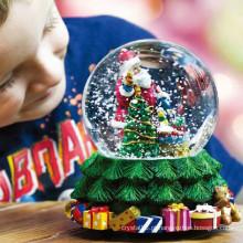Caixa de música de bola de cristal para decoração de Natal