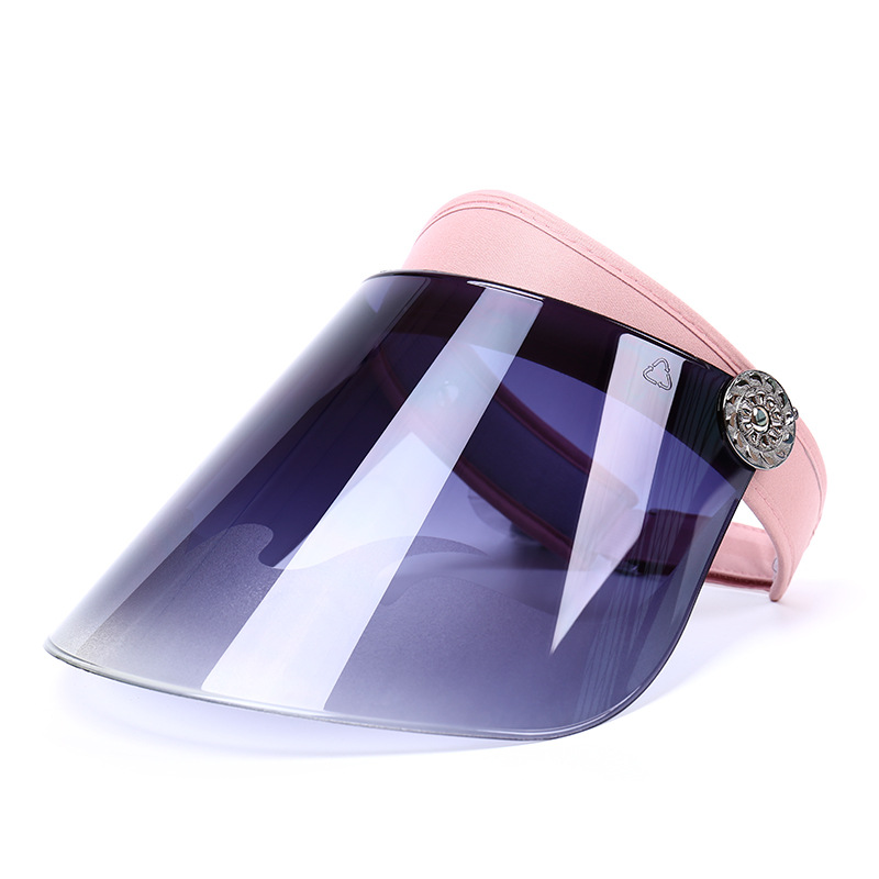 Blue Hard Visor Lens Transparent Plastic Sun Visor Cap Women Hat