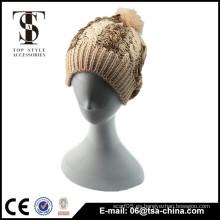 Marrón gris islandia chunky knit jacquard invierno sombrero con pom-pom