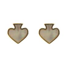 Серьги-гвоздики в форме сердца с перламутром