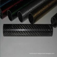 Tubo de escape em fibra de carbono de sarja 3k