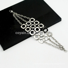 Bohemia estilo 3 cadenas de acoplamiento de acoplamiento de acero inoxidable pulseras de cadena de plata para las niñas