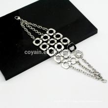 Bohemia Style 3 Chains Combinação De Malha De Aço Inoxidável De Prata Pulseiras Link Chain Para Meninas