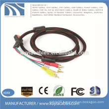 HDMI to 3RCA Cable Nylon braid with two ferrites Audio Vedio AV cable
