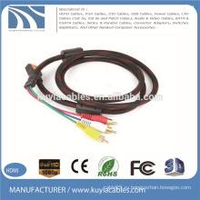 HDMI для кабеля 3RCA Нейлоновая оплетка с двумя ферритами Аудиокабель Vedio AV