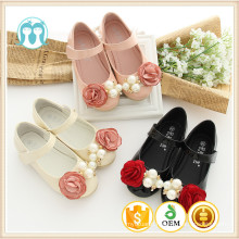 One piece girls shoes for USA size 1-13 Baby girls shoes with rose flowers and beads black/pink/creamy step-in shoes