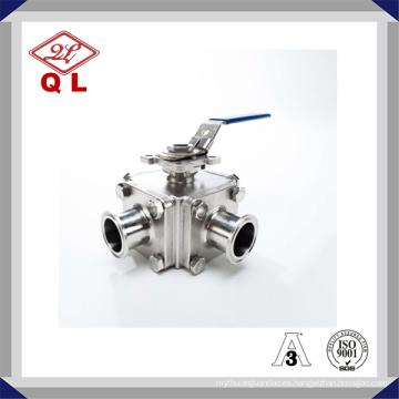304 o 316L Válvula de bola de tres vías de acero inoxidable sanitario