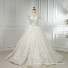 China custom made short sleeve satin embroidery wedding dress bridal gown 2018 with long tail