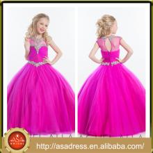 ARC-10 princesa fucsia tul vestido de niña de flores de longitud completa chica falda de fiesta vestido de niñas de cristal rebordeado