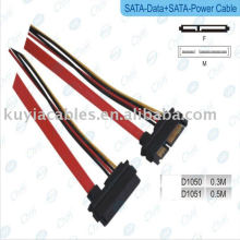 SATA 15 + 7 P Câble d'alimentation femelle à femelle