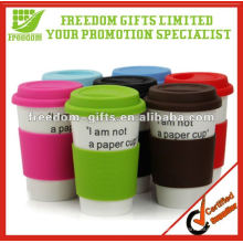 Promotional Ceramic Travel Mug with Silicone Lid