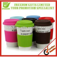 Promotional Ceramic Travel Mug with Silicone Lid