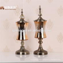 Chinese manufacture wholesale different shaped garden wedding home decoration gold tall cylinder glass home decor