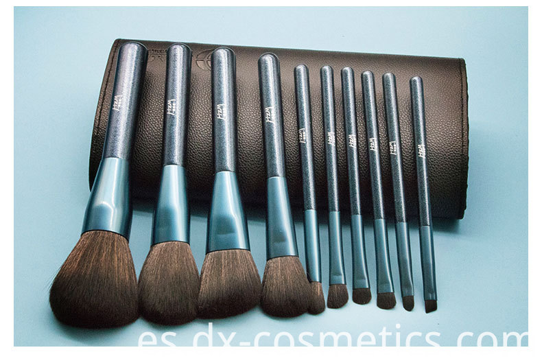 10 Pcs Blue Glitter Diamond Makeup Brushes Set 6